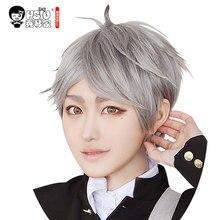 HSIU NEW High quality Sugawara Koushi Cosplay Wig Haikyuu!! Costume Play Wigs short gray Halloween Costumes Hair free shipping