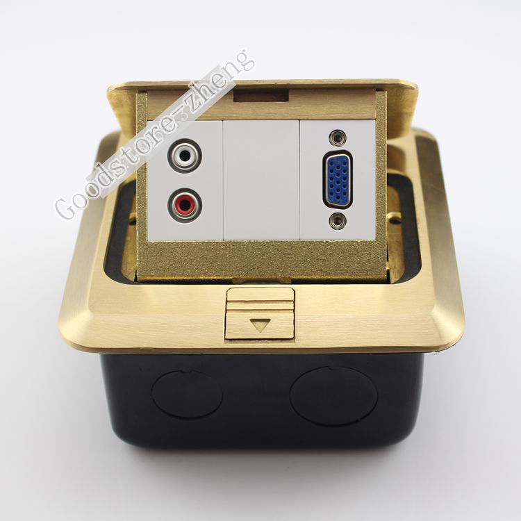 Multi function Bronze Pop up Floor Box Kit One 2RCA AV Jack & VGA Socket Panel Ground Outlet Receptacle Home Media Plug Adapter