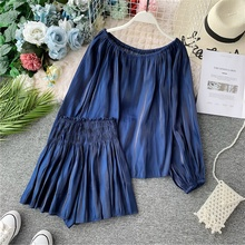 2019 Autumn Two Piece Suit Female Slash Collar Shoulderless Long Sleeve Jacket + High Waist Wide Leg Shorts Women Sets