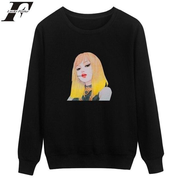 LUCKYFRIDAYF BLACKPINK Sweatshirts Oversize 4XL Capless Long JISOO Kpop Hoodies Women