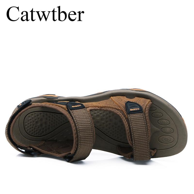 Catwtber Nouvelle Mode Chaude light Qualité dark Plage Black Souple Top À Hommes Cuir Chaussures Sandales En Des Marque Brown Appartements Brown Main De La D'été rIxrdpw