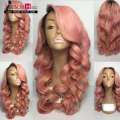 2016 New fashion #1b#pink color ombre full lace wig brazilian virgin human hair glueless ombre lace front wig freeshipping