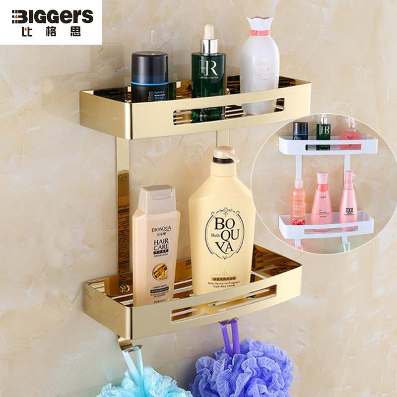 Free shipping Gold plated bathroom shelf stainless steel double tier ...