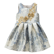 BONGAWAN Girls Dresses Flower Embroidery 2-12 Years Sleveeless O-Neck Fashion Children Costumes Cotton Ball Gown