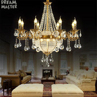 Luxury church crystal candle chandeliers, industrial gold sphere crystal lustres chandelier lighting, Hotel Villa art lamp
