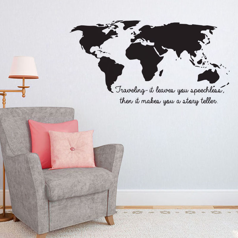 Buckoo wall stickers collect moments not things wall stickers quotes dctop traveling it leaves you speechless quotes wall stickers world map home decor vinyl art stickers gumiabroncs Image collections