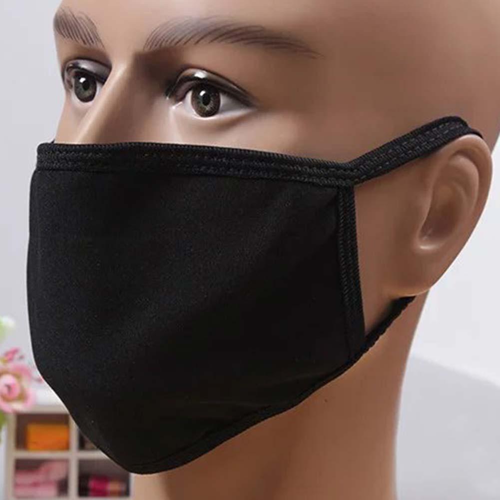 1 Pcs Anti Staub Mund Maske Baumwolle Mischung 3-schicht Nase Schutz Maske Schwarz Mode Reusable Masken Für Mann Frau #15