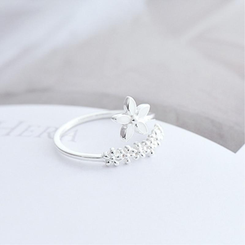 Frische Blume 925 Sterling Silber Temperament Persönlichkeit Literarischen Mode Geschenk Korea Weibliche Resizable Öffnung Ringe SRI172