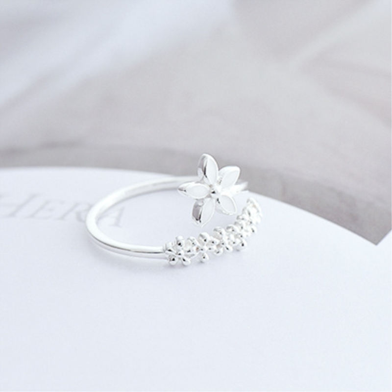 Fresh Flower 925 Sterling Silver Temperament Personality Literary Fashion Gift Korea Female Resizable Opening Rings SRI172