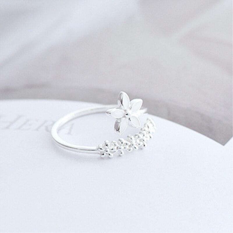 Świeży kwiat 925 srebro Temperament osobowość literacki moda prezent Korea kobieta Resizable pierścienie otwierające SRI172