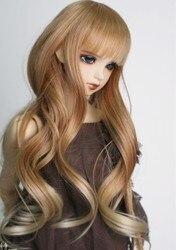 جديد وصول 1/3 1/4 1/6 Bjd SD شعر مستعار لدمية سلك الموضة براون إلى شقراء طويلة متموجة باروكة شعر دمية