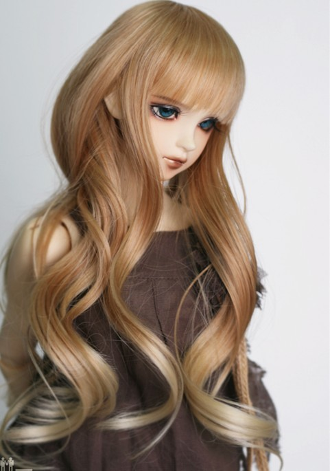 2017 Nieuwe Collectie 1/3 1/4 1/6 Bjd SD Pop Pruik Draad Mode Bruin Om Blonde Lange Golvende HighTemperature Pop Haar