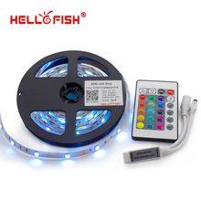 Hello Fish 5M 5050 RGB LED strip,150LED/m LED tape +24 key remote controller Kit, Free Shipping