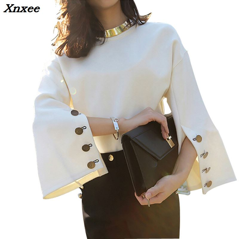 Xnxee 2018 Autumn Flare Sleeve Split O-neck Lady Female Tops Women Sweater Clothes New Fashion Korean