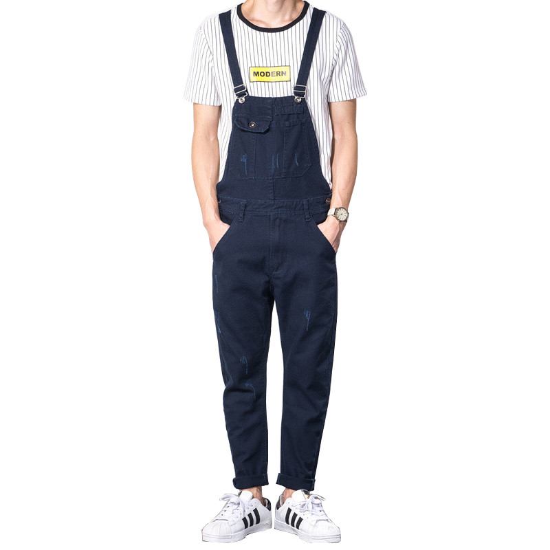 Fashion Men's Slim Fit Denim Jumpsuits Jeans 2017 New Arrival Spring Man Skinny Bib Overalls Jeans Male Jeans Pants 2017 new women s denim bib pants spring and autumn overalls skinny fit plus size one piece jumpsuits trousers