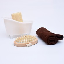 4 Items/set Hot Sale Small Pet Bathtub +Bath luffah+Towel+Wood Body Massage bathroom accessories bath set J1