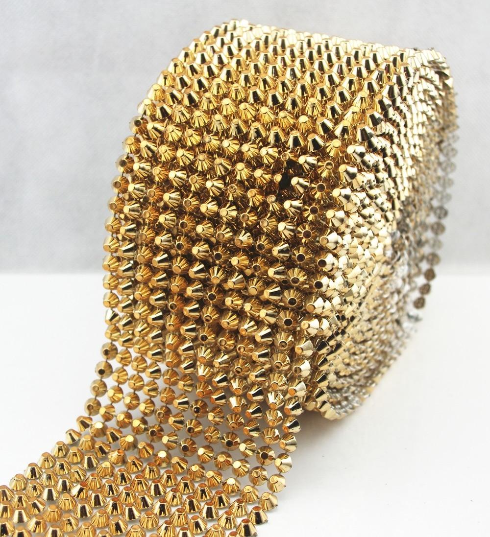 1 Yard Gold Sew Stitch On Spike Stud Cone Flatback Punk Rock Trim Reel Mesh Bead Craft