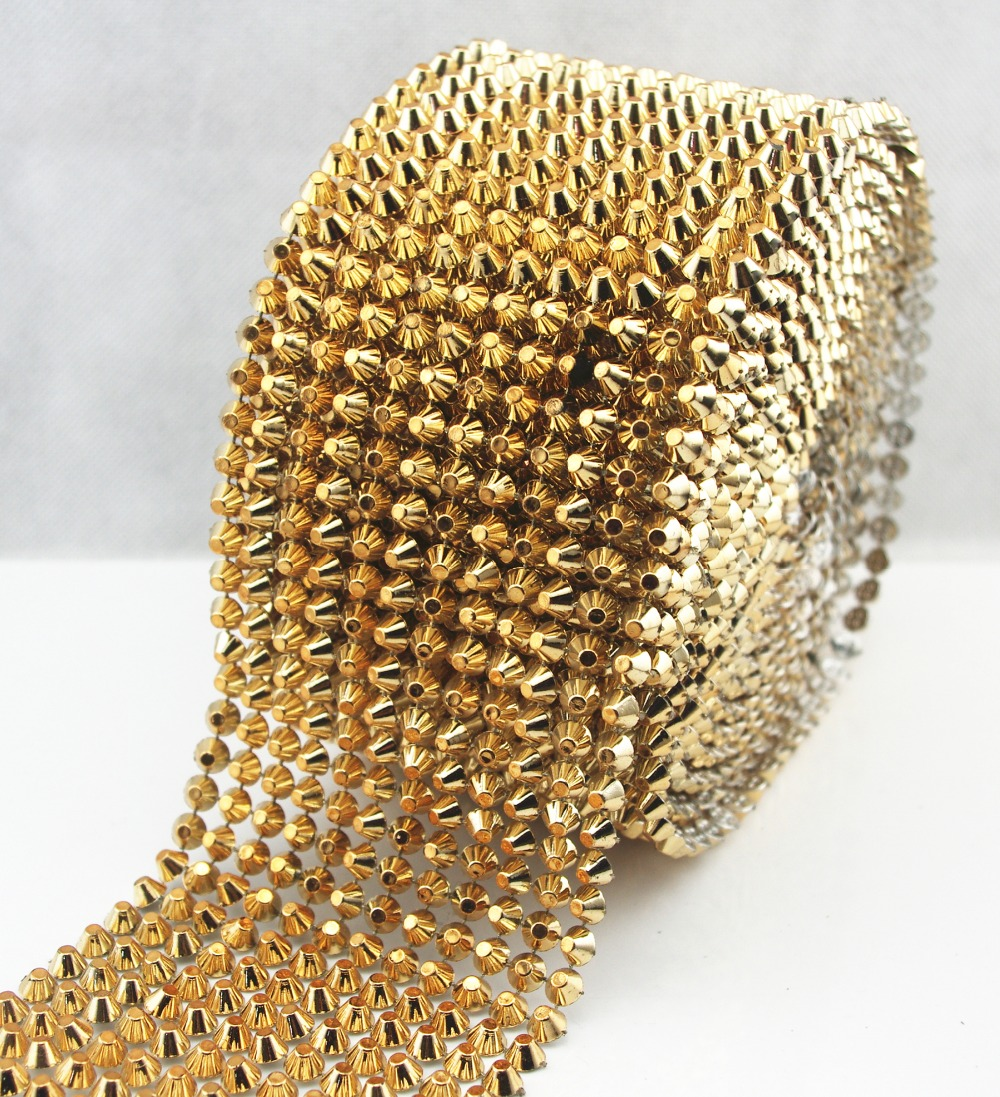 1 Yard Gold Sew stitch on spike stud cone flatback punk rock trim reel mesh bead craft|sew on spikes|sew on studs|gold spike studs - AliExpress