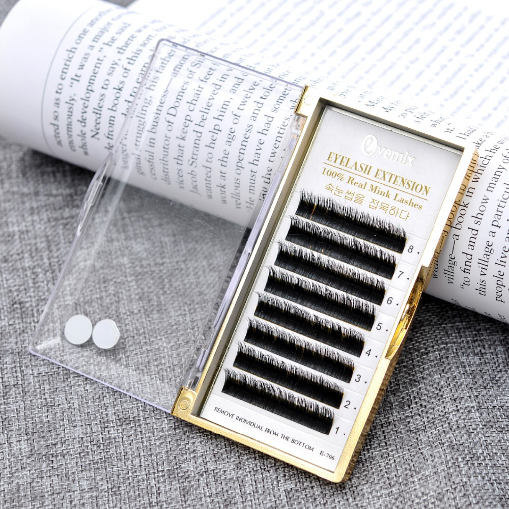 100% Real Fur Mink Individual Eyelash Extension 1 pcs/lot Mix 6 Length 8mm-13mm B C curl Free Shipping