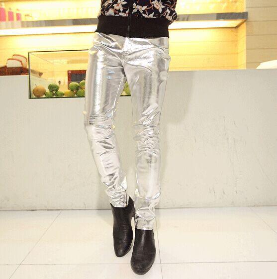 Мужчины брюки узкие искусственная кожа брюки человек черный золото 36 приталенный хип-хоп кожа брюки мужчины в полиуретан кожа бегунов брюки брюки 6z