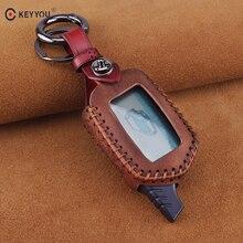 все цены на KEYYOU Leather Remote Control Keychain Key 3 Buttons For Starline B9 B6 A91 A61 LCD Key Case 2 Way Car Alarm Key Cover онлайн