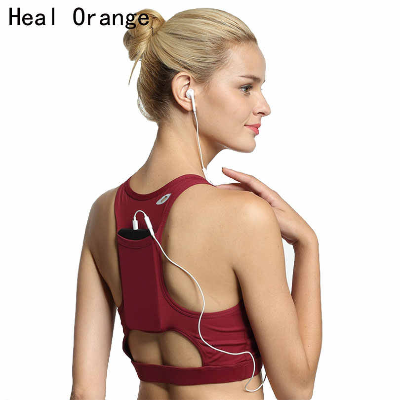 HEAL ORANGE Back Pocket High Quality Shock Sports Bra Women Shakeproof Yoga Bras Full Cup Fitness Bras Gym Sport Top Underwear
