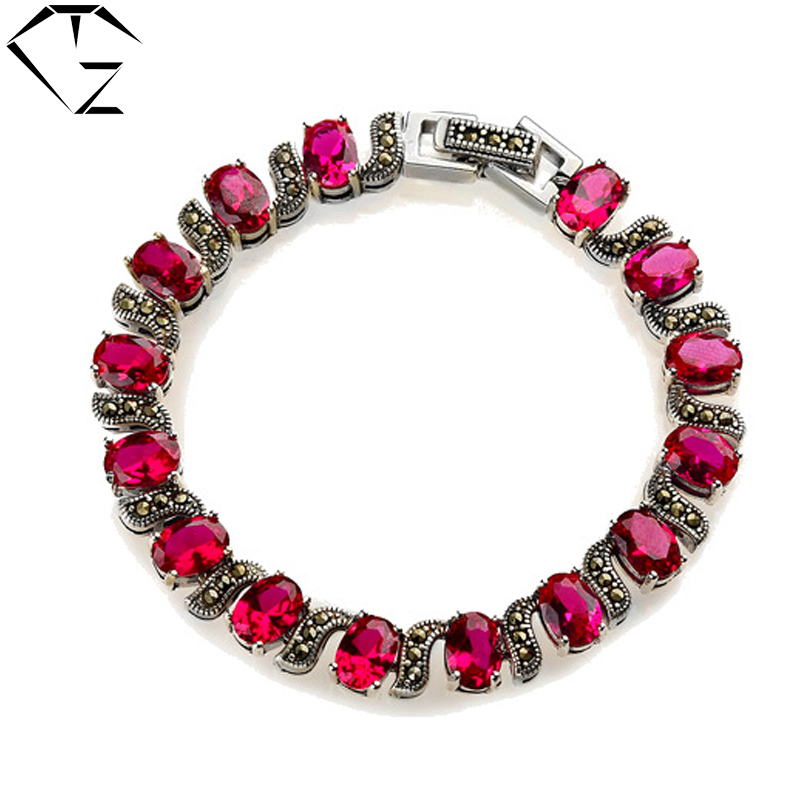 100% Real Pure 925 Sterling Silver Bracelets Blue Rose Garnet S925 Solid Thai Silver Chain Bracelet for Women Jewelry LB01 edi women 925 sterling thai silver bracelet anklets for women chalcedony mystic red garnet diy bracelets bohemian leg jewelry