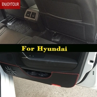 Car pads front door Seat Anti kick mat For Hyundai ELantra/i35 Sonata/i45 Creta/ix25 Tuscon/ix35 Accent Verna Solaris Santa Fe