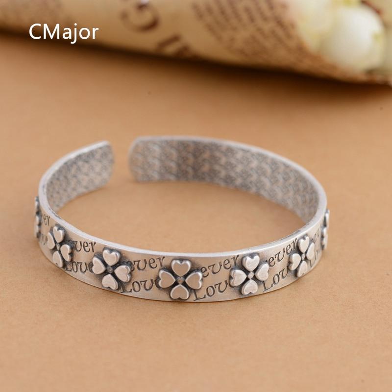 Cmajor S990 Thai Silver Jewelry Four-leaf Clover Bracelets Antique Festival Saint Patrick's Day Bracelets For Women