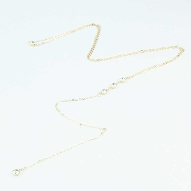 2017 Women Boho Gold Beach Bikini Bib Crystal Wedding Summer Dress Backdrop Back Body Necklace Wholesale Jewelry X214