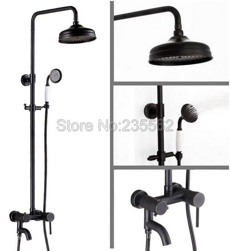 Black Oil Rubbed Wall Mounted Rain Shower Faucet Bathroom Tub Mixer Shower Taps Brass Finish + Handheld Shower Head Spray lrs366