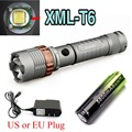 CREE XM-L T6 2500LM LED Rechargeable Zoommable 18650 Flashlight 5 MODE+18650 +AC Charger