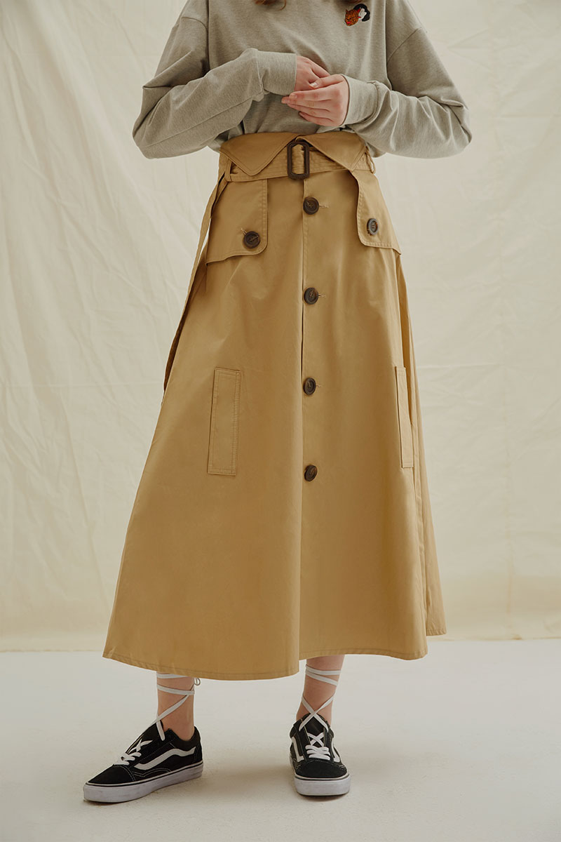 5eaa3a4245 FS019 Autumn 2017 new arrivals high waist belted single breasted khaki  trench skirt women long maxi a line skirt