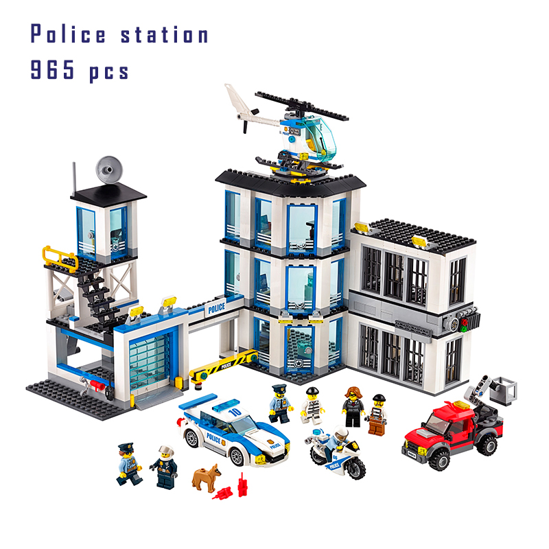 Models building block kits Compatible with lego City 60141 965Pcs Police Station Building Blocks toys 3D Bricks figure toys lepin 02012 city deepwater exploration vessel 60095 building blocks policeman toys children compatible with lego gift kid sets