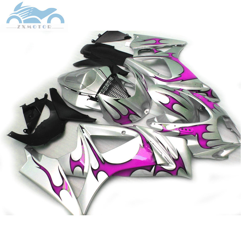 Custom ABS Fairing <font><b>kits</b></font> for <font><b>Suzuki</b></font> GSXR 1000 <font><b>GSXR1000</b></font> 2007 2008 K7 <font><b>K8</b></font> motorcycle fairings <font><b>kit</b></font> 07 08 purple silver AT12 image