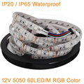 5M 12V 5050 RGB LED Strip Light 60LED/M 300LEDs DC12V Flexible LED Tape Ribbon, RGB Multi-Color, IP20 / IP65 Waterproof 60 LED/M