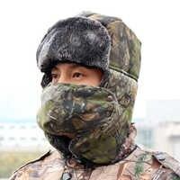 Männer Frauen Bionic Camouflage Winter Kappe Erwachsene Warme Thermische Hut Outdoor Wandern Walking Jagd Kappe Bomber Pilot Kappe Uschanka Ohr