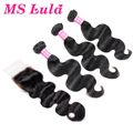 MS Lula Hair 7A Peruvian Virgin Hair with Silk Base Closure Body Wave Human Hair Weave 3pcs with 1pc Lace Closure Bleached Knots