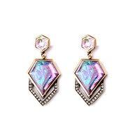 Women Trendy Short Dangle Earring 2015 Geometric Patterned Gem Gift Party Jewelry Factory Wholesale