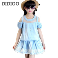 Kids Girls Clothing Sets Off Shoulder T Shirts Skirts 2Pcs Summer Girls Outfits 4 7 9