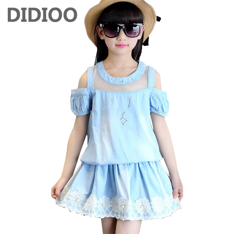 Kids Girls Clothing Sets Off Shoulder T-Shirts & Skirts 2Pcs Summer Girls Outfits 4 7 9 11 12 13 14 Years Teenage Denim Clothes retail kids 2017 baby girls clothes summer girls clothing sets kids clothes girl denim t shirts denim shorts sets 2 6 years 2