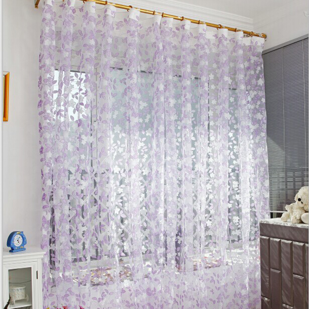 1pc 1m 2m Voile Curtain Leaf Type Tulle Tulle Voile Door
