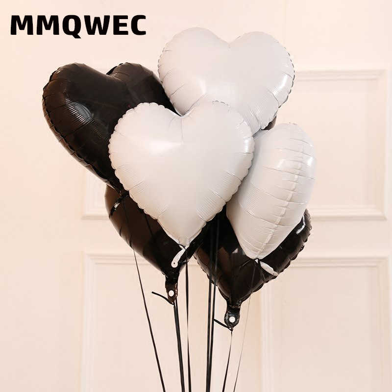 MMQWEC Happy Birthday Balloons Black White Latex Balloon Star Heart Foil For Wedding Party