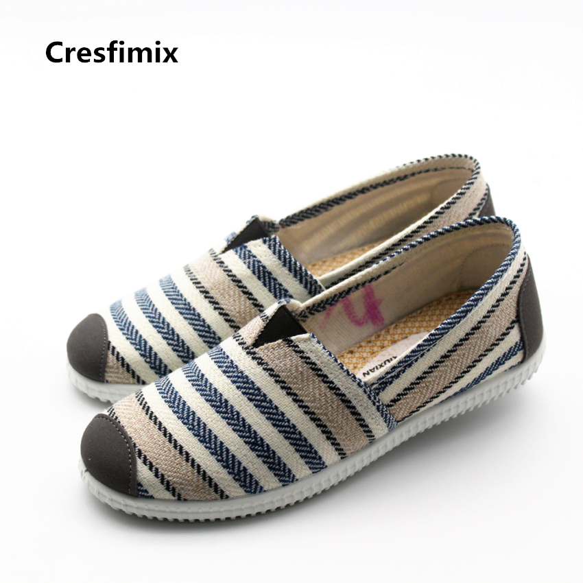 Cresfimix women spring & summer slip on soft shoes lady leisure blue striped flats female comfortable red flat shoes zapatos cresfimix zapatos de mujer women fashion pu leather slip on flat shoes female soft and comfortable black loafers lady shoes