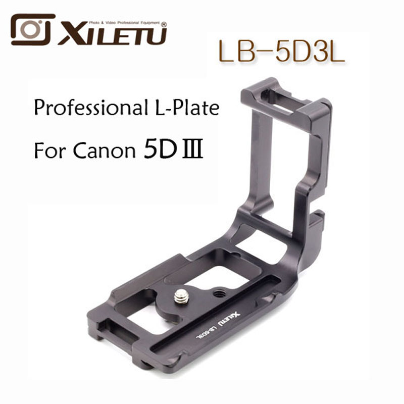 Xiletu Black Metal LB-5D3L Professional L Ball Head Plate Quick Release Plate with 1/4 Screw For Canon 5D3 III 5D4 IV