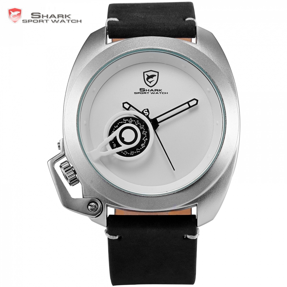 Brand Tawny Shark Sport Watch White Simple Date Left Crown guard Design Leather Band Waterproof Quartz
