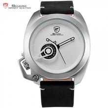 Brand Tawny Shark Sport Watch White Simple Date Left Crown-guard Design Leather Band Waterproof Quartz Men Male Wristwatch/SH450