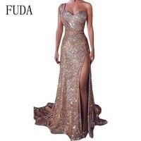 FUDA Elegant One Shoulder Sleeveless Gilded Gown High Slit Dress Hollow Out Floor length Dress Summer Reflective Party Vestidos