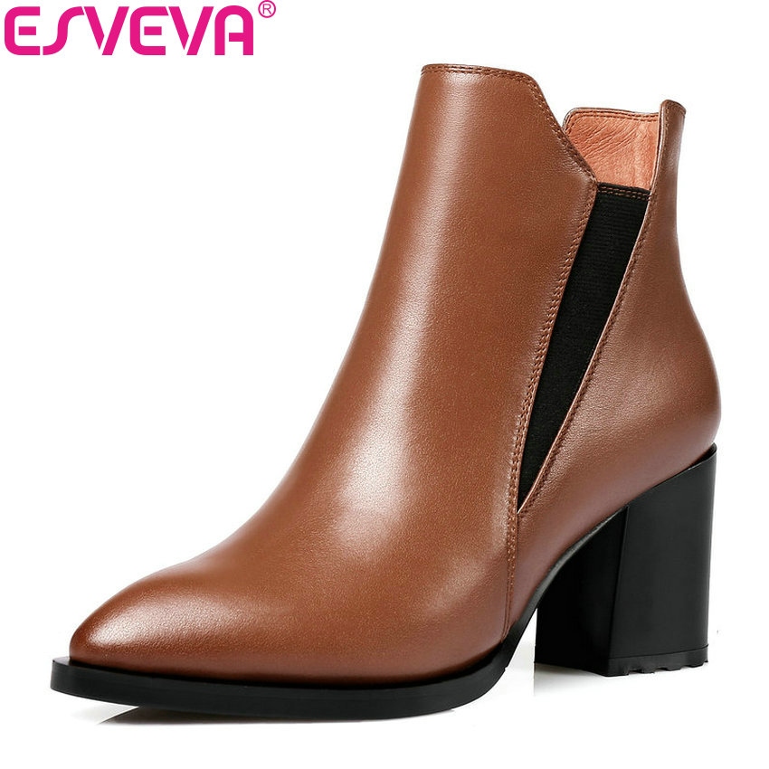 ESVEVA 2018 Women Boots Comfortable Lining Synthetic/PU Ankle Boots Square High Heels PU+Real Leather Ladies Boots Size 34-42 esveva 2018 women boots zippers black short plush pu lining pointed toe square high heels ankle boots ladies shoes size 34 39