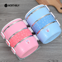 WORTHBUY Cute Cartoon Stainless Steel Lunch Box Chinese Thermal Bento Box Portable With Bag Kids Picnic